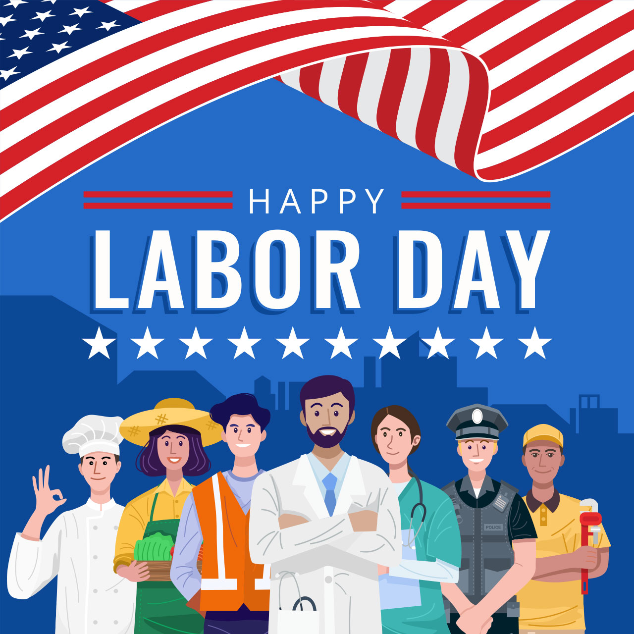 Labor Day: various occupations standing in front of the flag