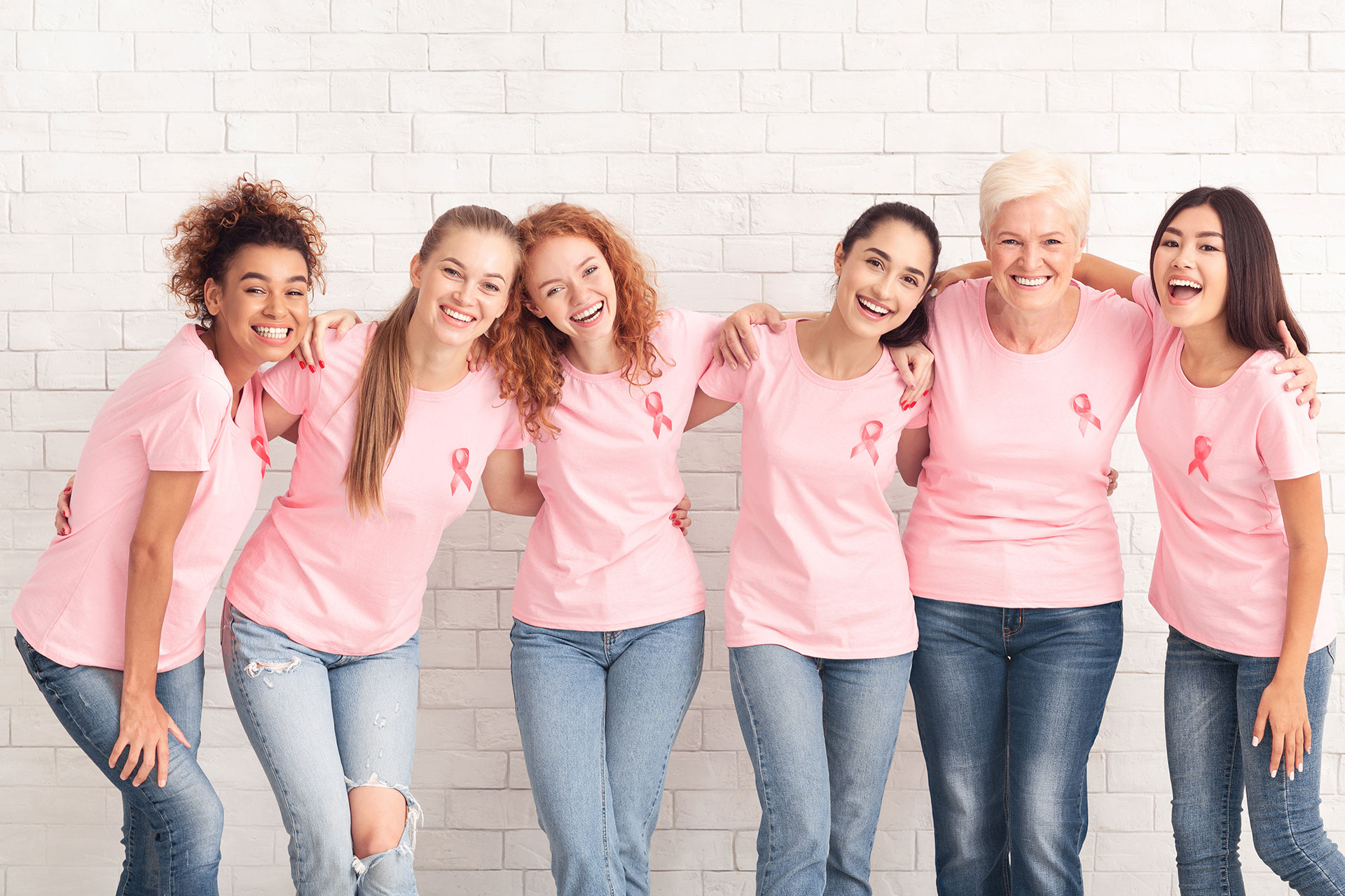 Women showing support for breast cancer